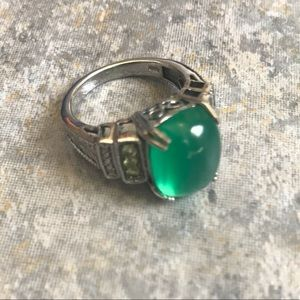 Chalcedony Green Sterling Silver Cocktail Ring 8
